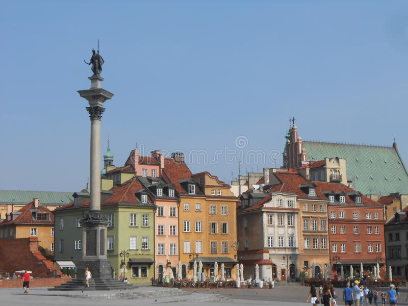 Sikt av den gamla staden för Warszawa fotografering för bildbyråer