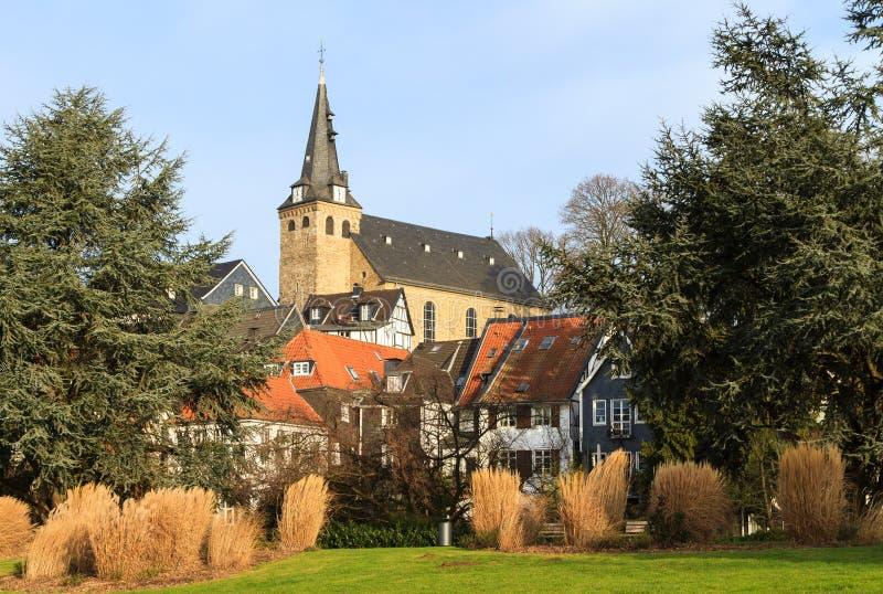 Sikt av den gamla staden i Essen-Kettwig arkivbilder