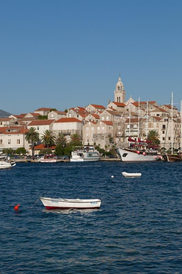 Sikt av den gamla staden, Korcula, Kroatien royaltyfria bilder