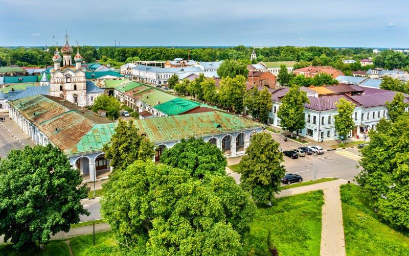 Sikt av den Gostiny dvoren i Rostov, Yaroslavl Oblast av Ryssland royaltyfri bild