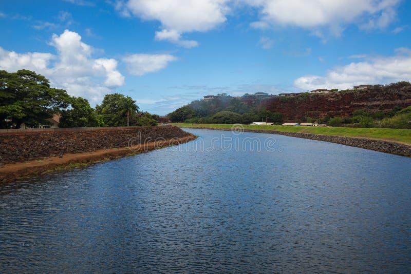 Sikt av den Hanapepe floden på Kauai arkivfoto