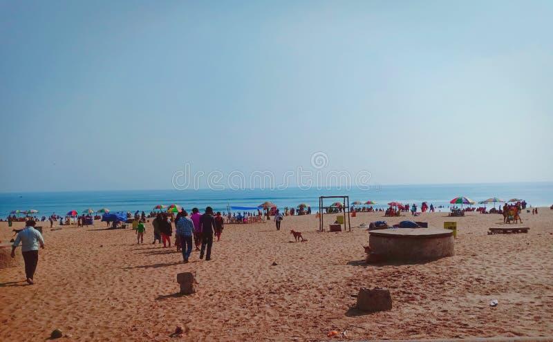 Sikt av den indiska stranden, Odisha arkivbild