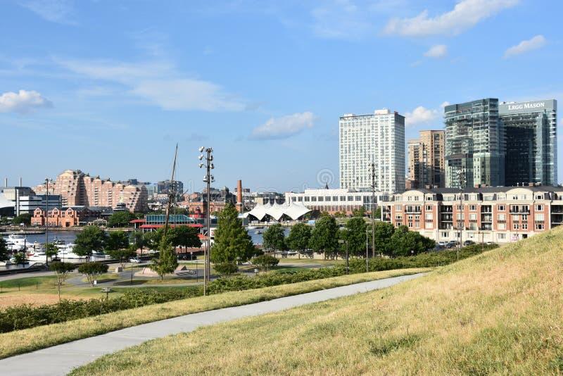 Sikt av den inre hamnen i Baltimore, Maryland royaltyfria foton