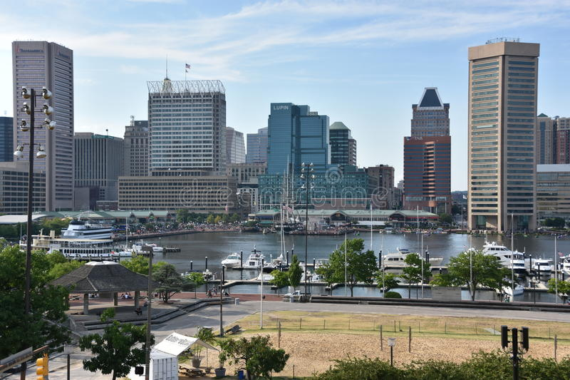 Sikt av den inre hamnen i Baltimore, Maryland arkivbild