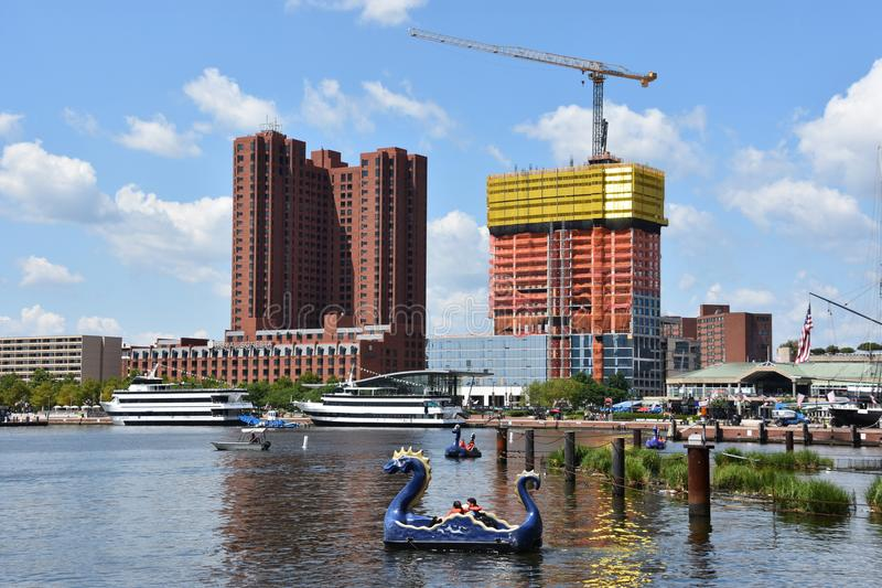 Sikt av den inre hamnen i Baltimore, Maryland royaltyfri fotografi
