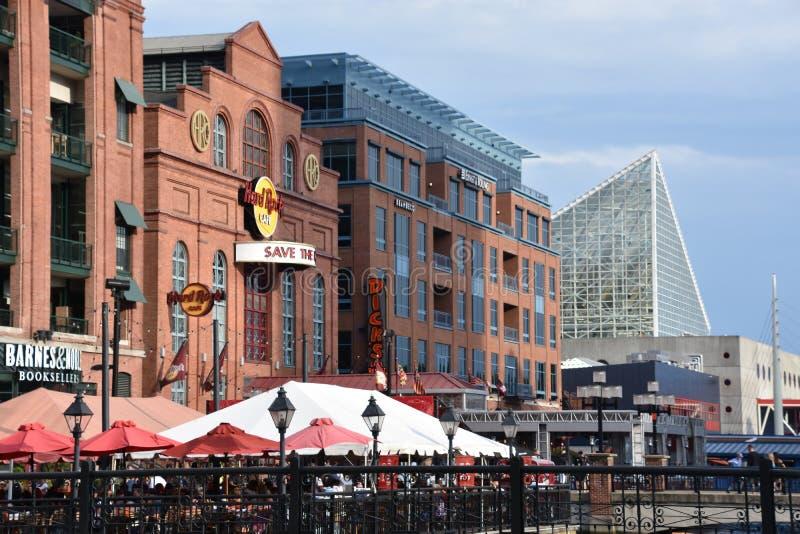 Sikt av den inre hamnen i Baltimore, Maryland arkivfoto