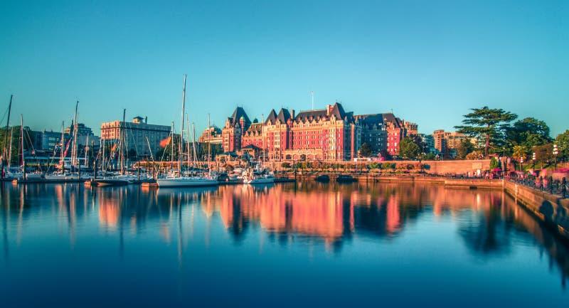 Sikt av den inre hamnen av Victoria, Vancouver ö, F C , Canad arkivbilder