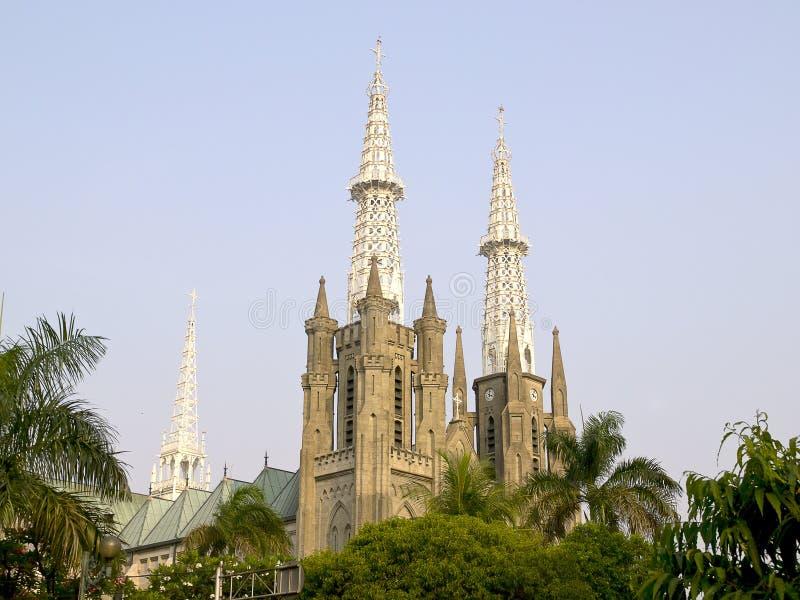 Sikt av den Jakarta domkyrkan royaltyfria foton