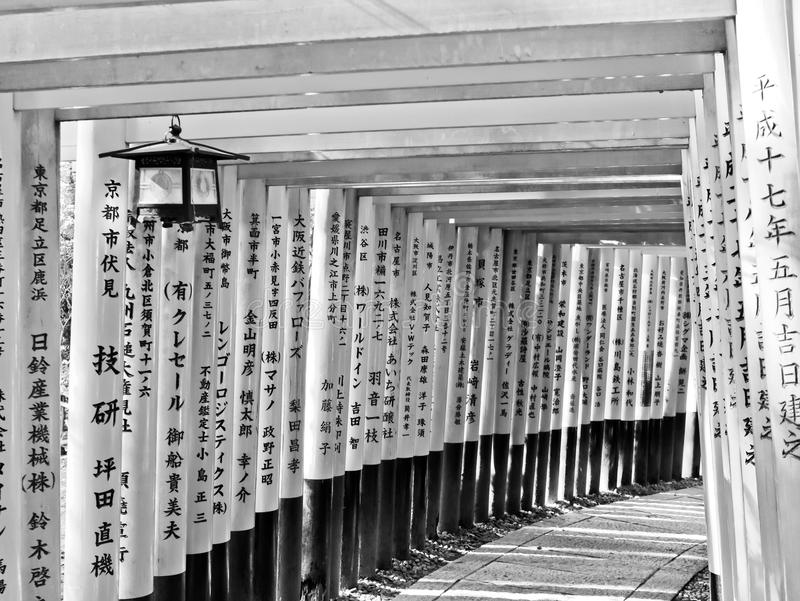 Sikt av den japanska toriibanan i Kyoto, Japan royaltyfri fotografi