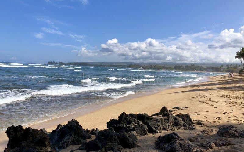 Sikt av den Kaiaka fjärdstranden, Hawaii arkivbild