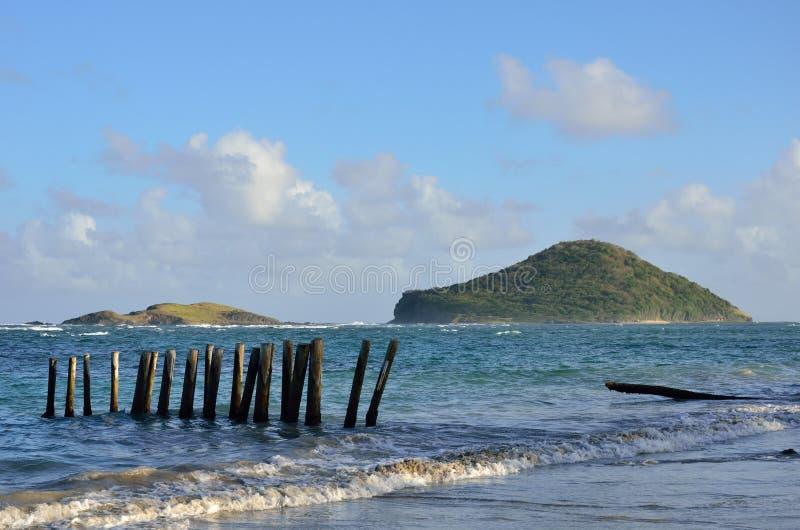 Sikt av den karibiska ön från kust royaltyfri bild