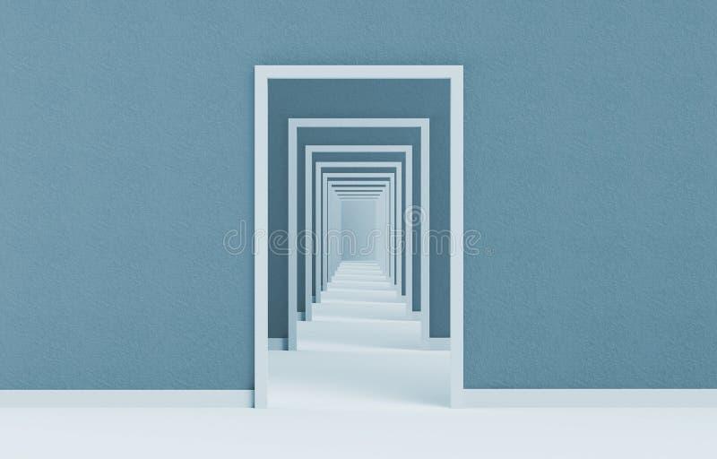 Sikt av den långa illustrationen för följd 3d för öppen dörr på blått stock illustrationer