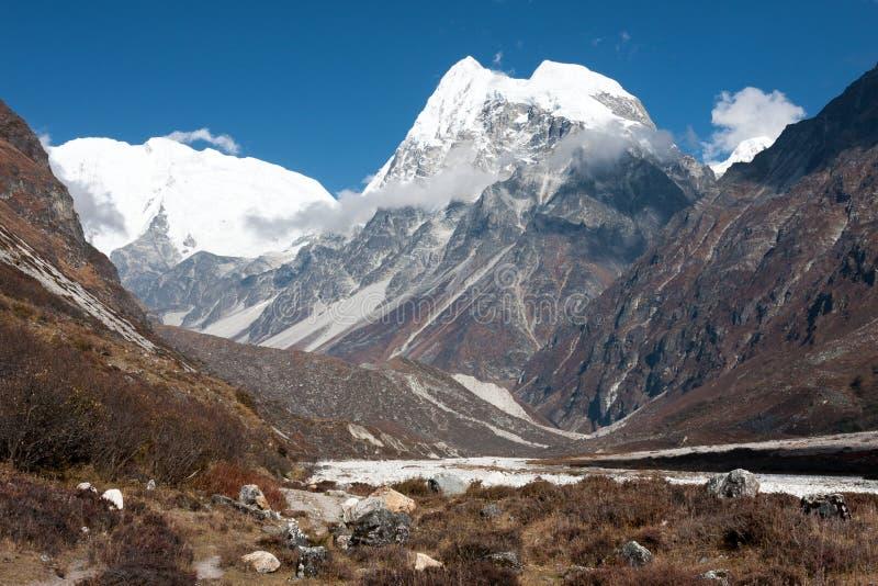 Sikt av den Langtang dalen, Langtang nationalpark, Rasuwa Dsitrict, Nepal royaltyfri foto