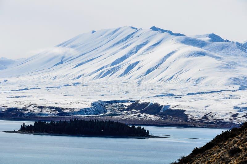 Sikt av den lilla ön i sjön Tekapo, Nya Zeeland fotografering för bildbyråer