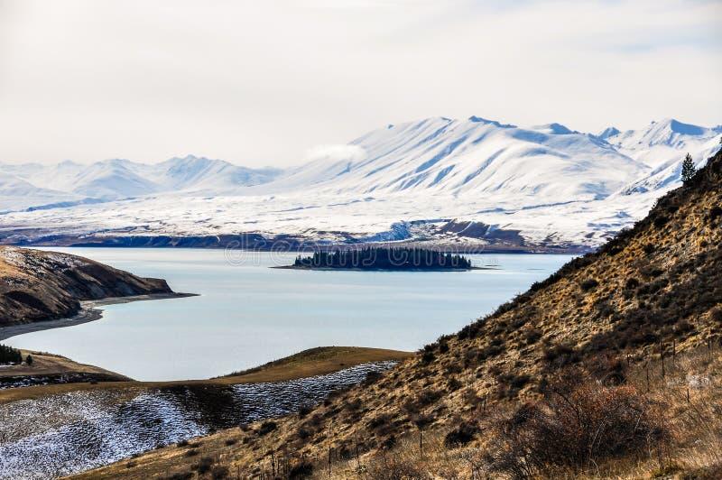 Sikt av den lilla ön i sjön Tekapo, Nya Zeeland royaltyfria bilder