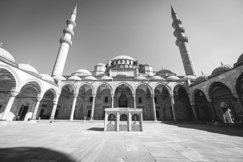 Sikt av den majestätiska Suleiman Mosque uteplatsen, Istanbul, Turkiet fotografering för bildbyråer