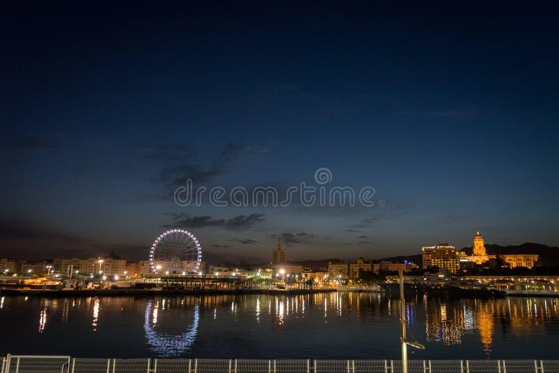 Sikt av den malaga staden från hamnen, Malaga, Spanien, Euope royaltyfria bilder