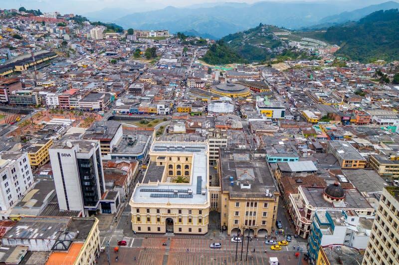 Sikt av den Manizales staden i Colombia royaltyfri bild