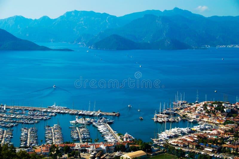 Sikt av den Marmaris hamnen på turk Riviera fotografering för bildbyråer