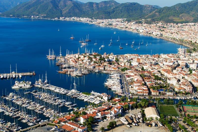 Sikt av den Marmaris hamnen på turk Riviera royaltyfri fotografi