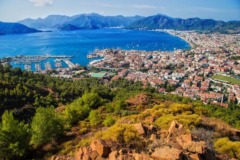 Sikt av den Marmaris hamnen på turk Riviera arkivbilder