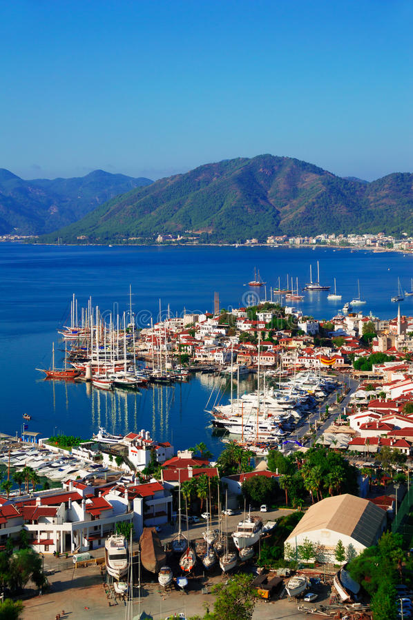 Sikt av den Marmaris marina på turk Riviera arkivfoto