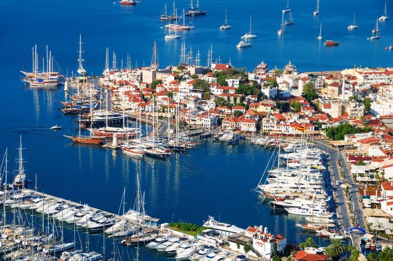 Sikt av den Marmaris marina på turk Riviera royaltyfria foton