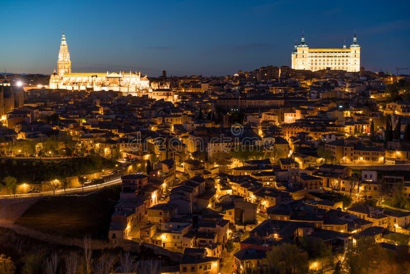 Sikt av den medeltida mitten av staden av Toledo, Spanien Det fea arkivbild