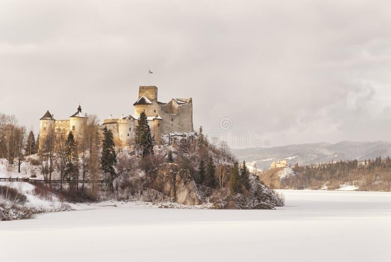 Sikt av den medeltida slotten i Niedzica, Polen arkivbild