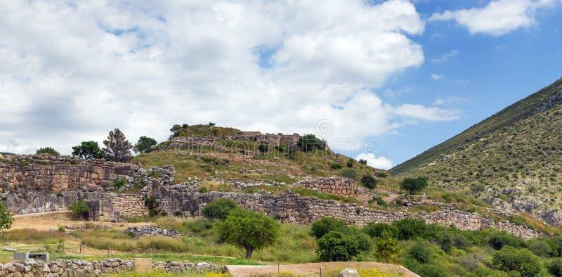Sikt av den Mycenae citadellen, Peloponnese, Grekland fotografering för bildbyråer