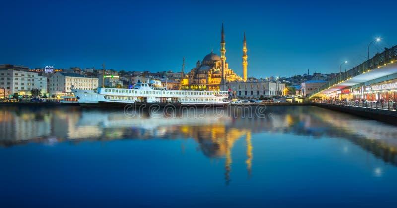 Sikt av den offentliga f?rjan och det gamla omr?det av Istanbul royaltyfria foton