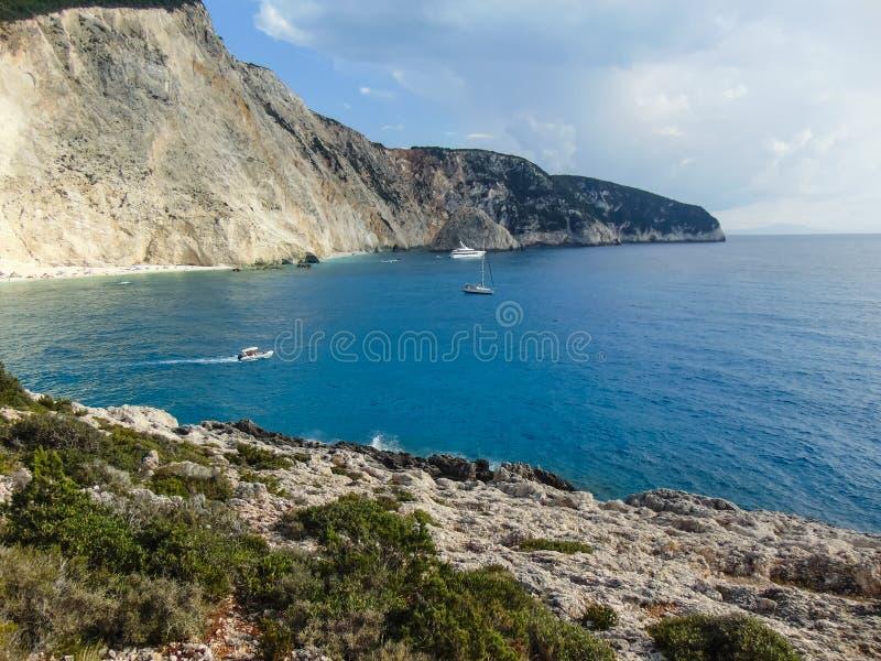 Sikt av den Porto Katsiki stranden royaltyfria bilder