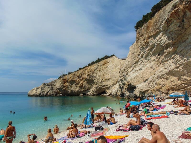 Sikt av den Porto Katsiki stranden royaltyfri foto