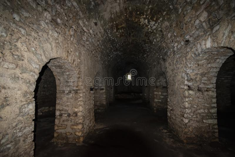Sikt av den Porto Palermo slotten royaltyfri fotografi