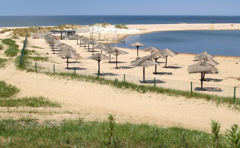 Sikt av den sandiga stranden för öken i bosättningbärnsten, Kalien royaltyfri foto