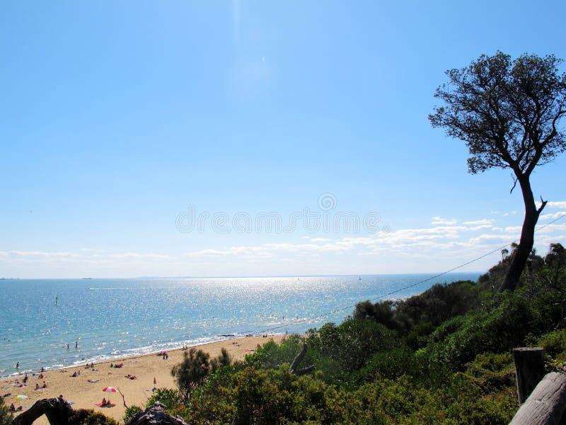 Sikt av den Sandringham stranden på Melbourne, Australien royaltyfria foton