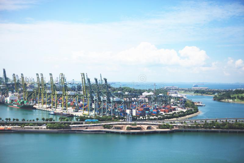 Sikt av den Sentosa ön Singapore arkivbild