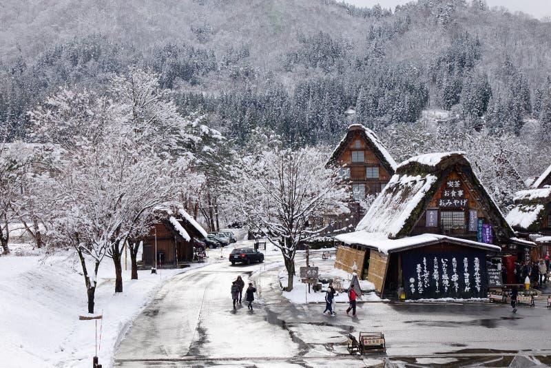 Sikt av den Shirakawa byn i Japan arkivfoton