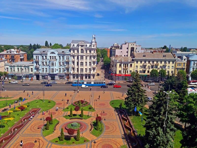 Sikt av den Soborna fyrkanten, Vinnytsia, Ukraina fotografering för bildbyråer