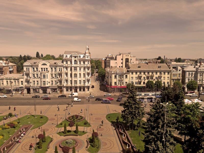 Sikt av den Soborna fyrkanten, Vinnytsia, Ukraina arkivfoto