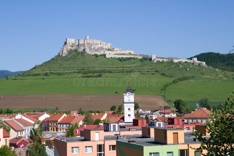 Sikt av den Spis slotten och Spisske Podhradie, Slovakien royaltyfria bilder