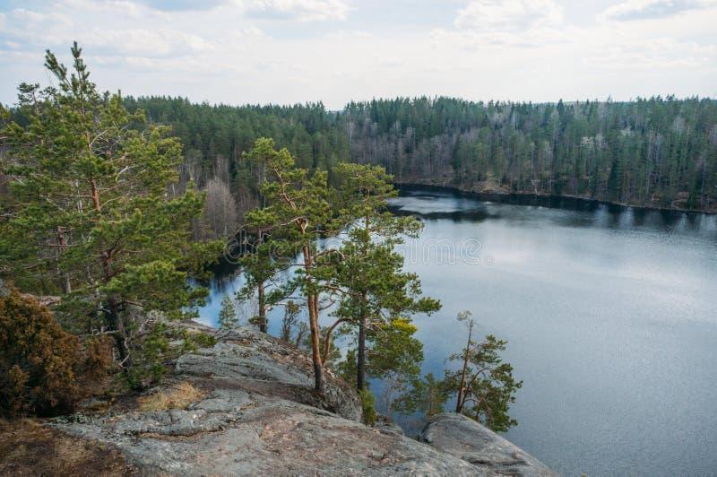 sikt av den steniga lutningen av klippan med träd över sjövatten, Karelian näs, arkivfoto