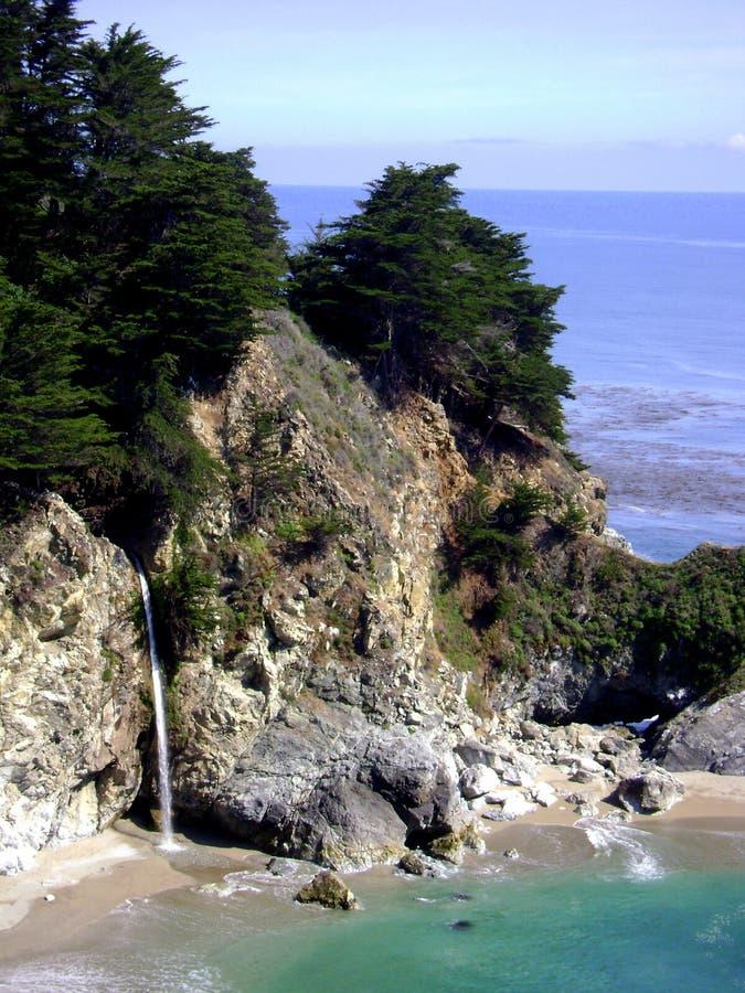 Sikt av den stora Sur Kalifornien lilla viken med vattenfallet i Julia Pfeiffer Burns State Park royaltyfri fotografi