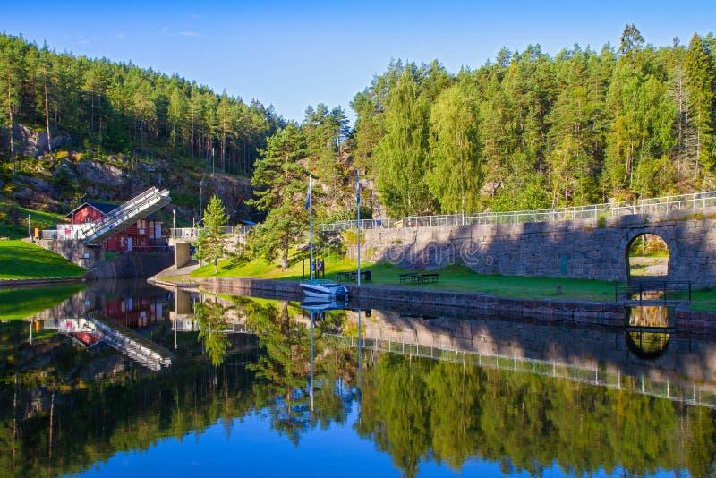 Sikt av den Telemark kanalen med gamla lås - turist- dragning i Skien, Norge fotografering för bildbyråer