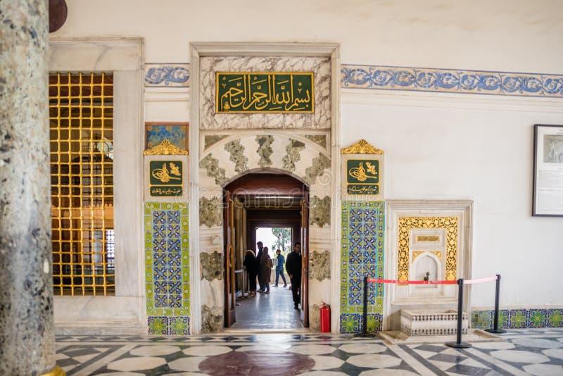 Sikt av den Topkapi slotten i Istanbul, Turkiet royaltyfri fotografi
