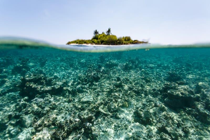 Sikt av den tropiska ön från undervattens- ovanför korallreven royaltyfria bilder