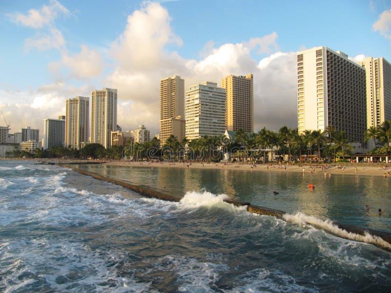 Sikt av den Waikiki stranden, Oahu, Hawaii arkivfoto