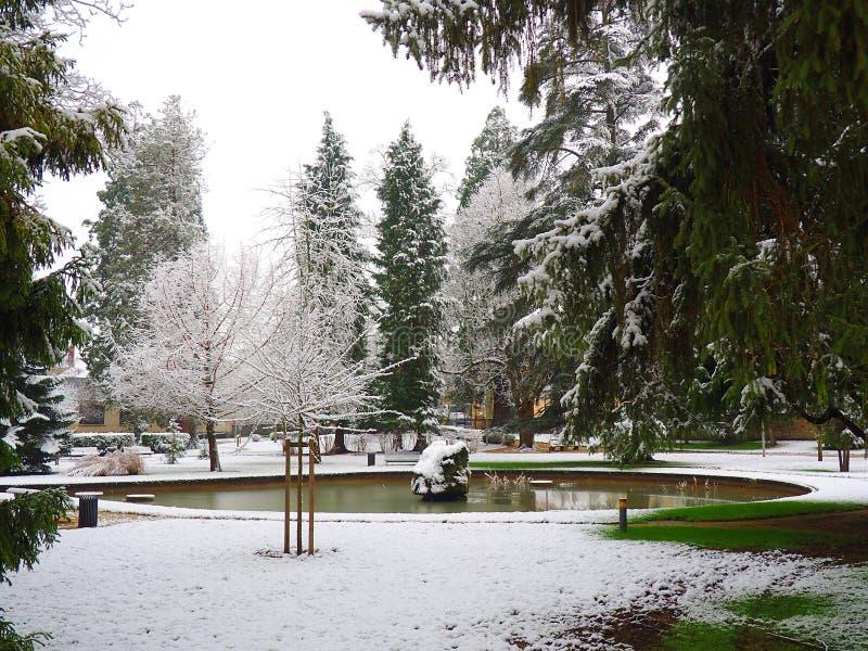 Sikt av det trädgårds- stadshuset av Montargis under snön royaltyfri fotografi
