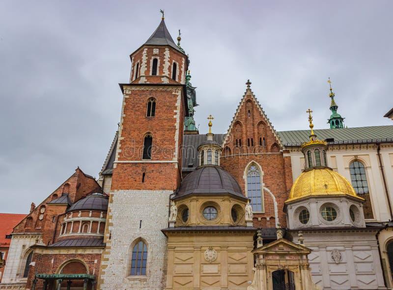 Sikt av det Wawel slottet i Krakow, Polen arkivfoton
