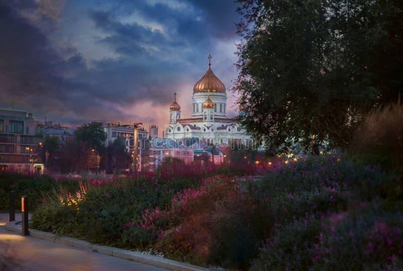 Sikt av domkyrkan av Kristus frälsaren i Moskva arkivbild